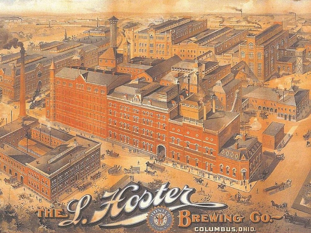 Aerial view of the old Hoster Brewing Company Complex along Front Street.
