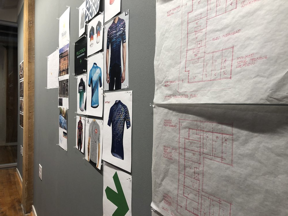 With a new Forbo tackable surface on the wall, we can pin drawings, plans, and ideas to the wall while we brainstorm.