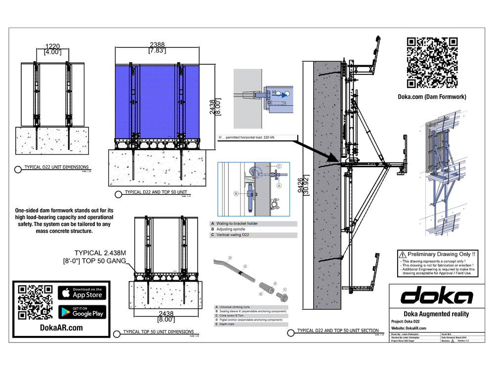 Dam Formwork D22    One-sided dam formwork stands out for its high load-bearing capacity and operational safety. The system can be tailored to any mass concrete structure.   Click Here To Download Target