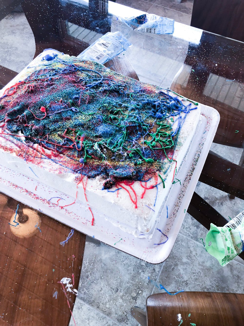 The end result of the cake decorating