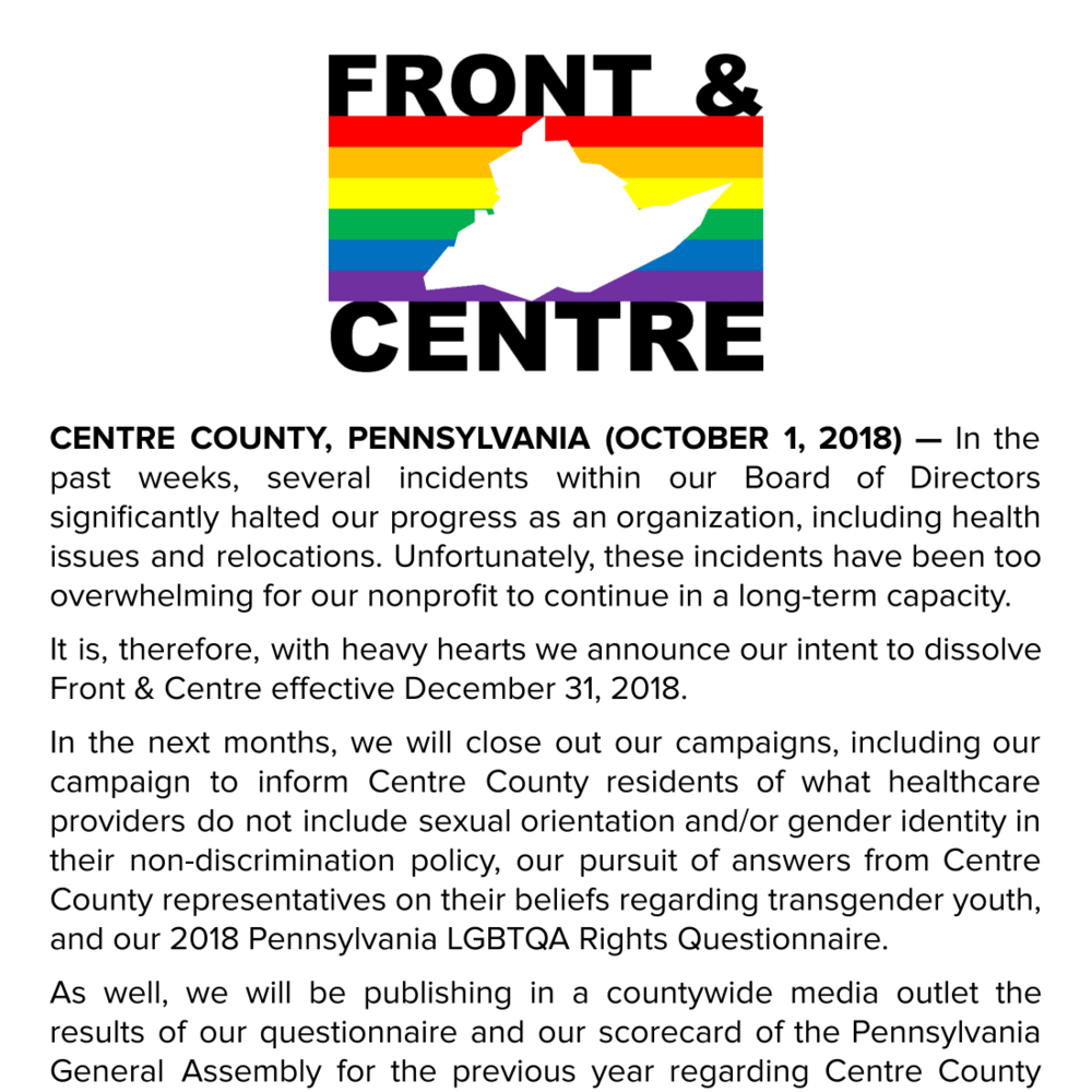 PRESS RELEASE: Front & Centre's Final Months