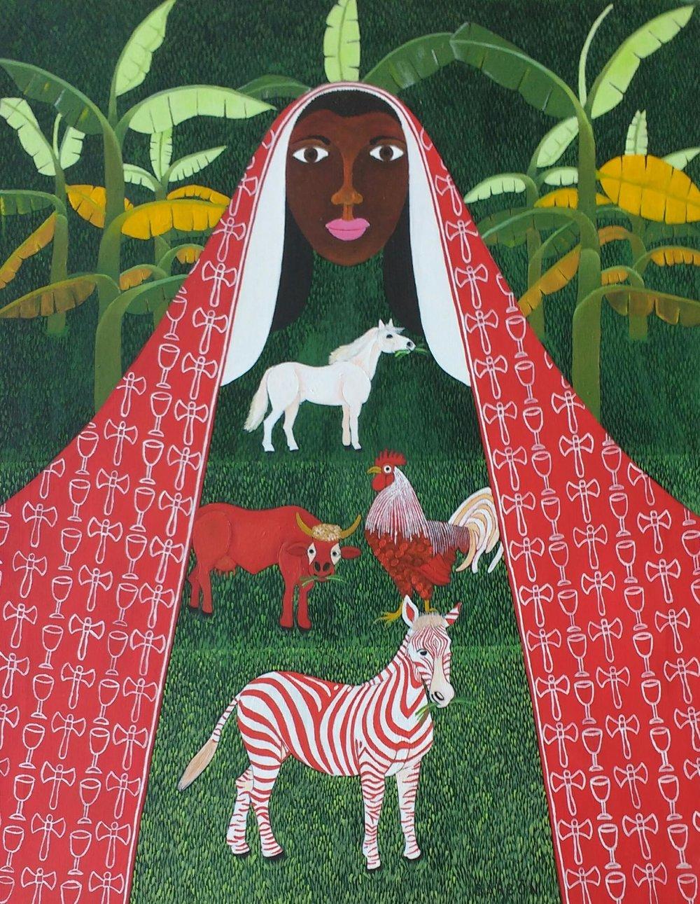 Julio Barbon-El rojo y el blanco-Acrylic on Canvas-35.5 x 27.5 inches.jpg