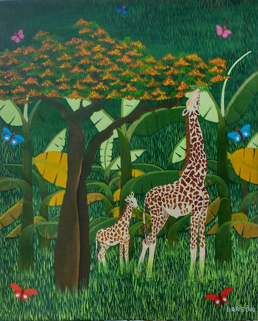 Julio Barbon Davis-La Jirafa y el Flamboyan-2017-Acrylic on Canvas-22 x 18 inches.jpg