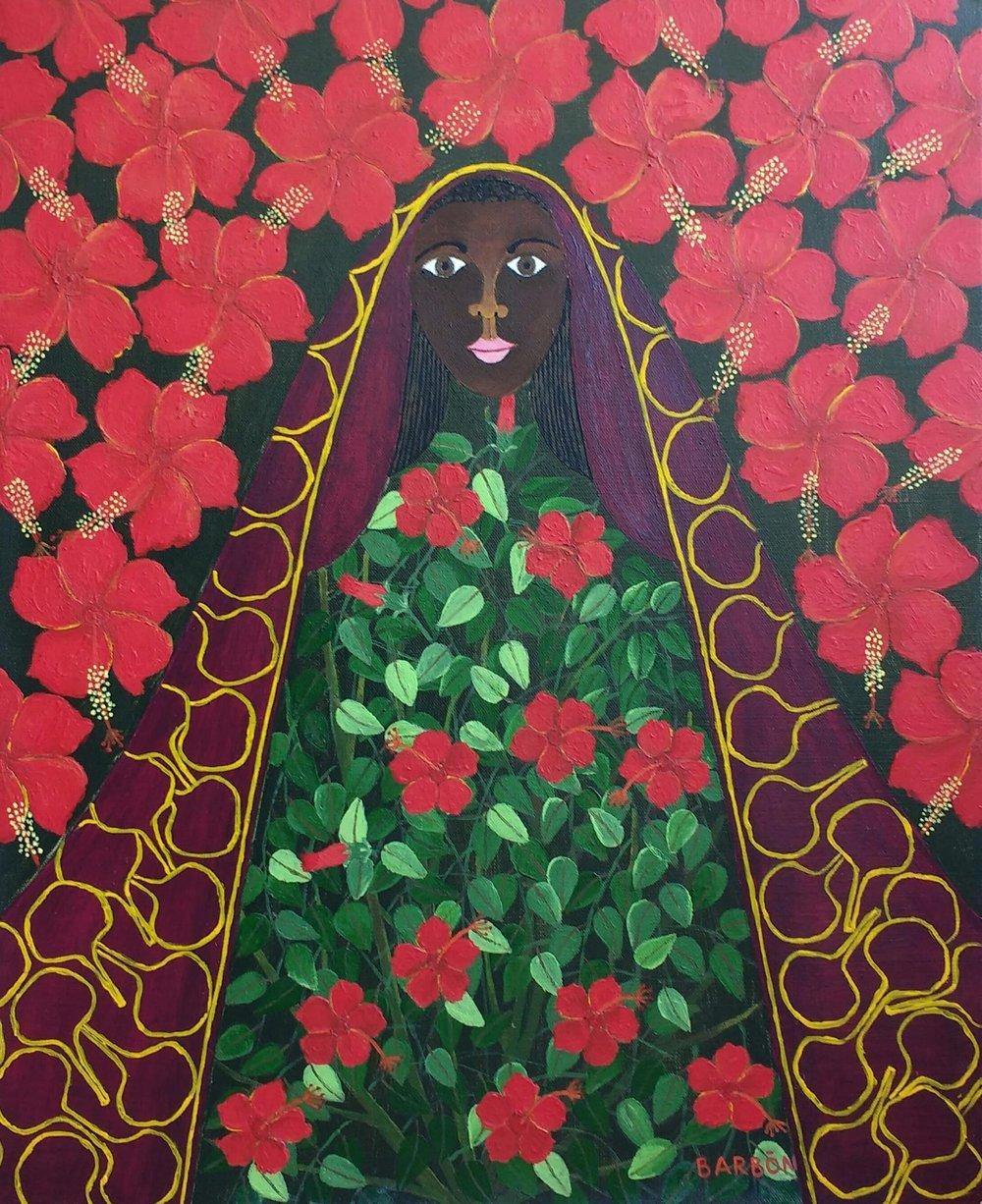 Julio Barbon-La virgen y el marpacifico-2016-Acrylic on Canvas-22 x 18 inches.jpg