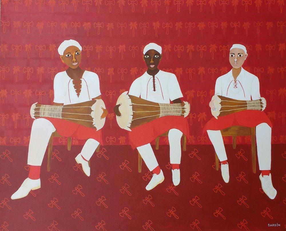 Julio Barbon-Suenan los tambores-2017-Acrylic on Canvas-32 x 39 inches.jpg