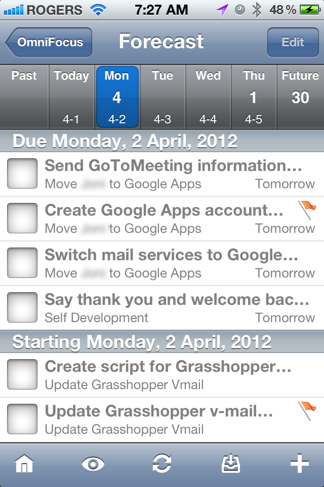 Tim Stringer - OmniFocus Forecast View - iPhone