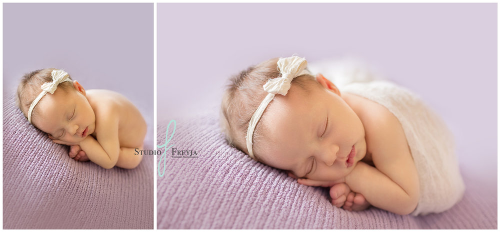 Simple girl newborn pictures in San Diego