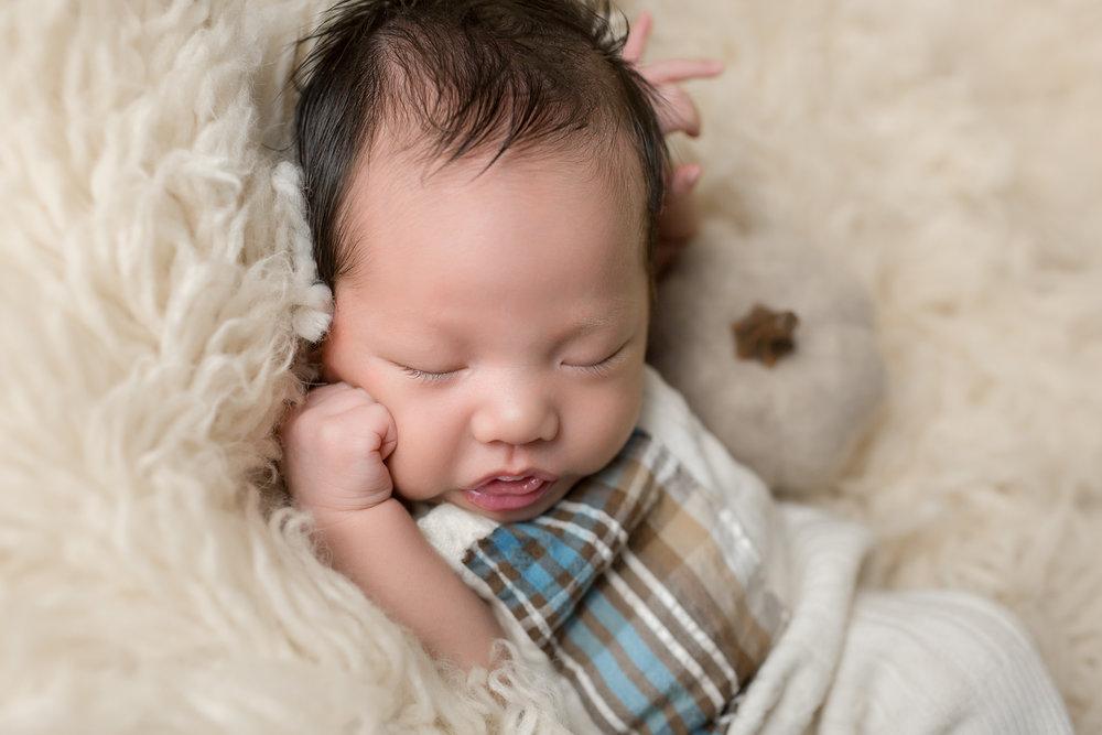 Baby Rome with Pumpkin by San Diego Newborn Photographer Studio Freyja Newborns