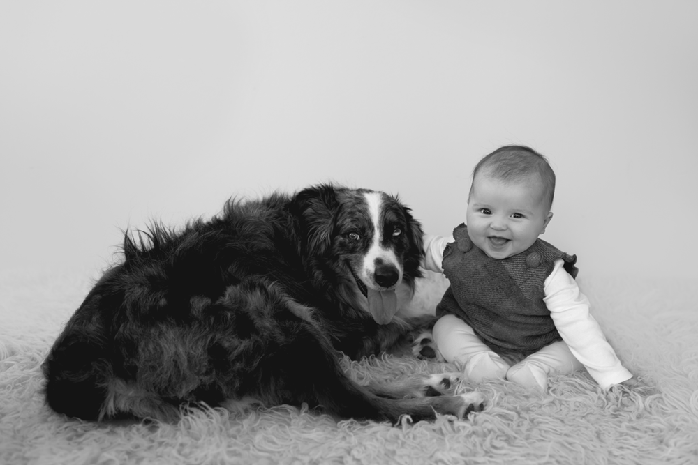 Baby girl and her dog during her Milestone session captured by Studio Freyja Newborns, a San Diego Kids Photographer
