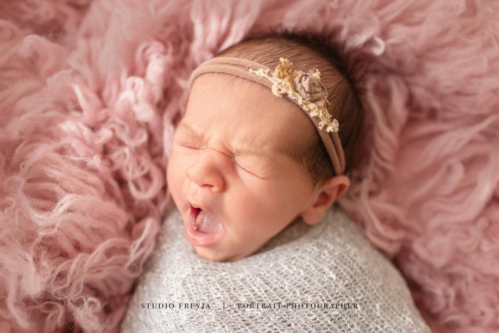 Yawning baby San Diego newborn photographer