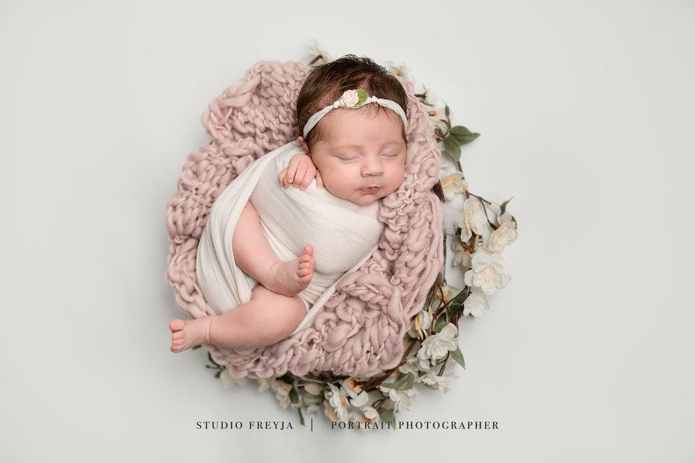 Floral Newborn Pictures by San Diego Newborn Photographer