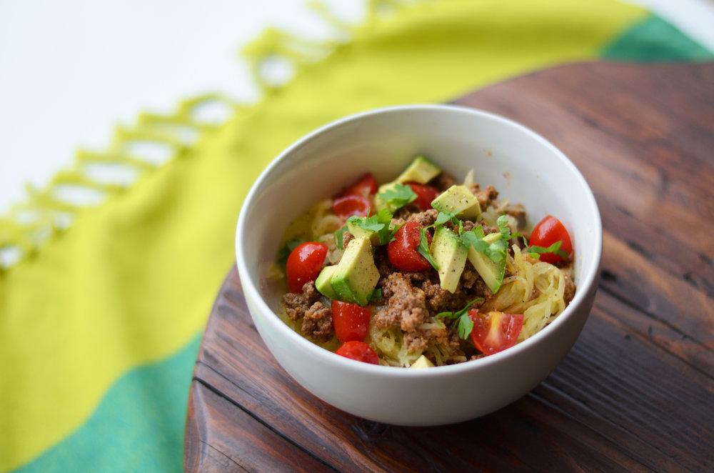 Mexican Spaghetti Squash Bowl Carolyn Williams, PhD, RD