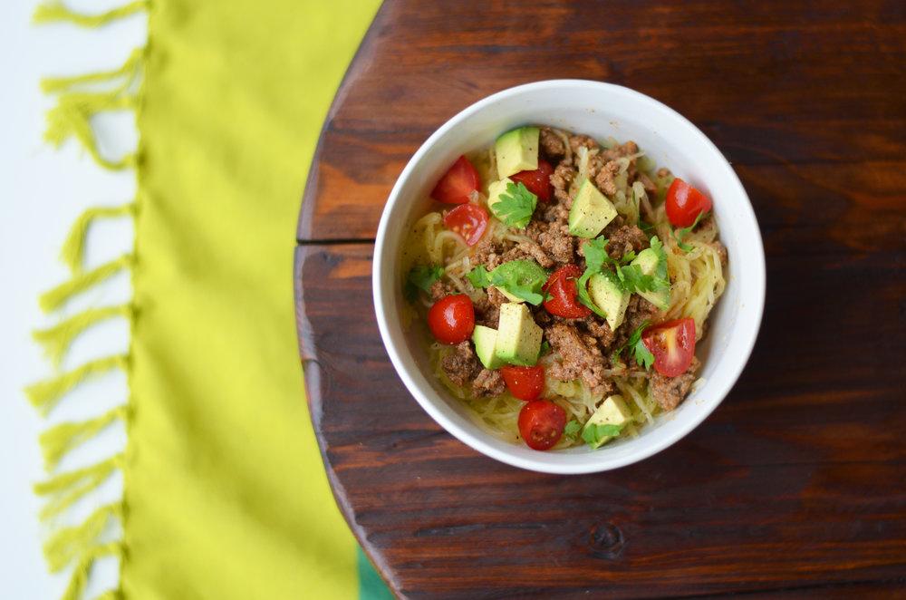 Mexican Spaghetti Squash Bowl 2 Carolyn Williams, PhD, RD