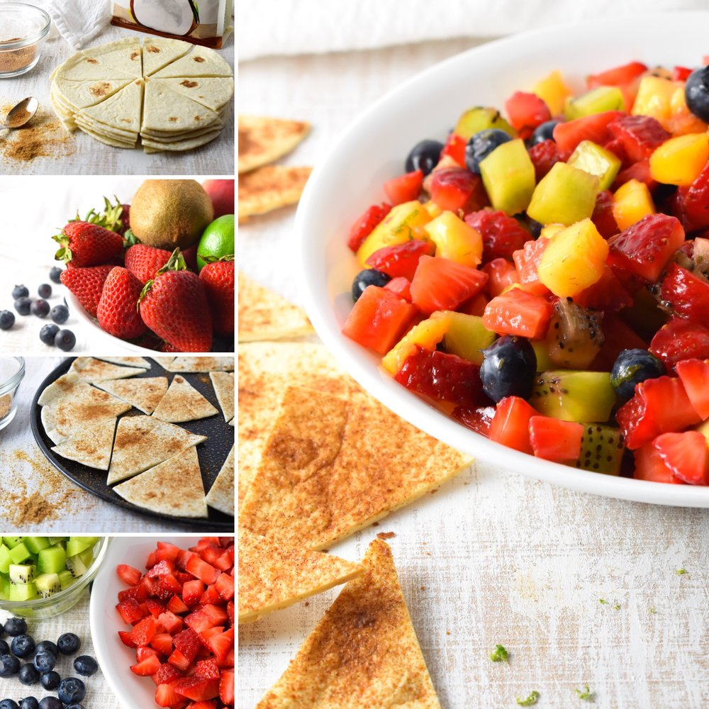 Fruit Salsa with Cinnamon Tortilla Chips // CarolynWilliamsRD.com