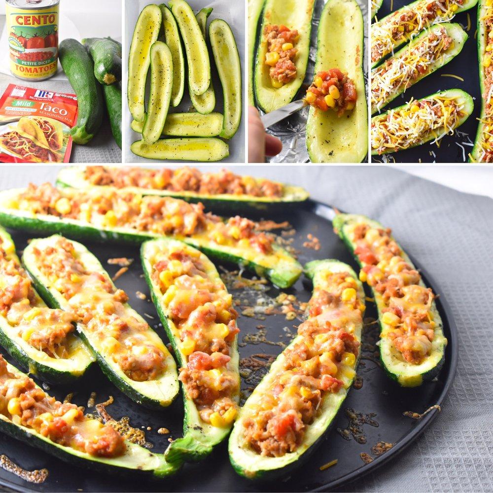 Grilled Taco Zucchini Boats / CarolynWilliamsRD.com