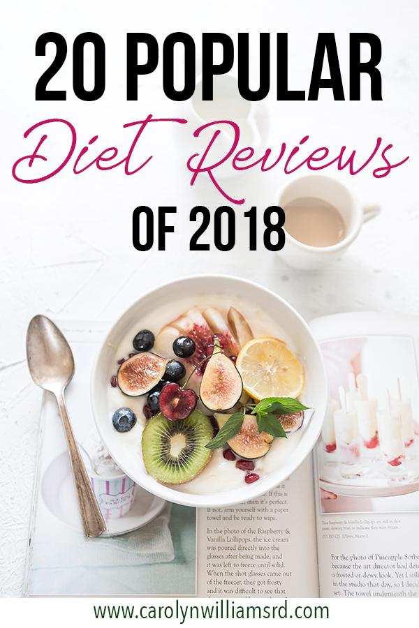 20 Popular Diet Reviews of 2018  CarolynWilliamsRD.com