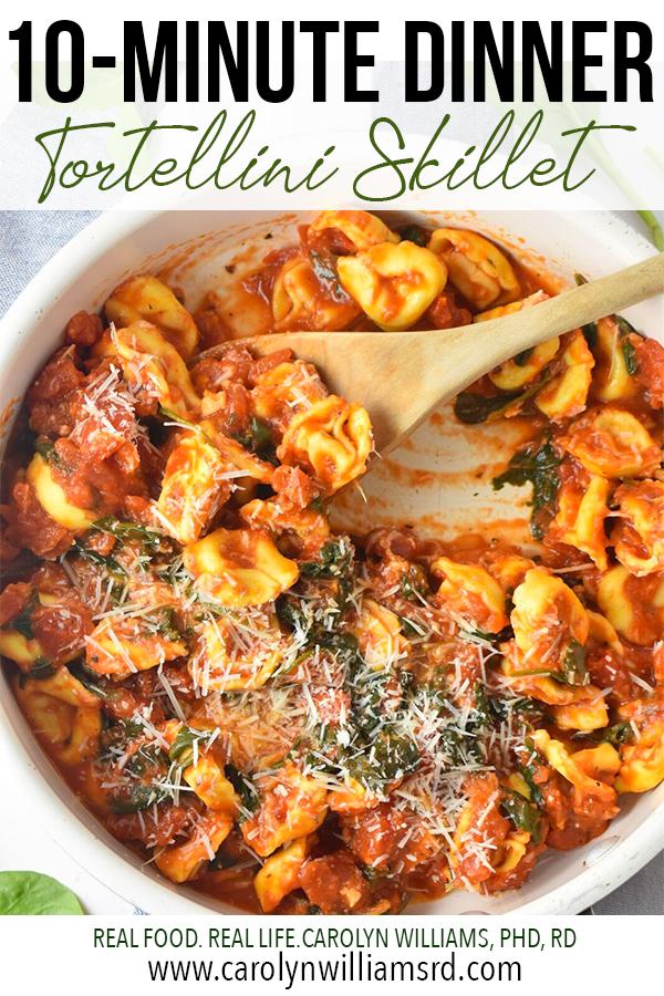 10-Minute Dinner: Quick Tortellini Skillet // CarolynWilliamsRD.com