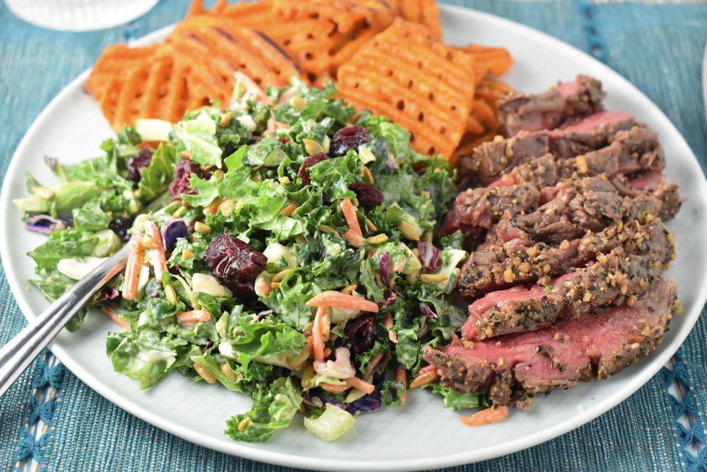 Oven Flank Steak Dinner Plate // CarolynWilliamsRD.com