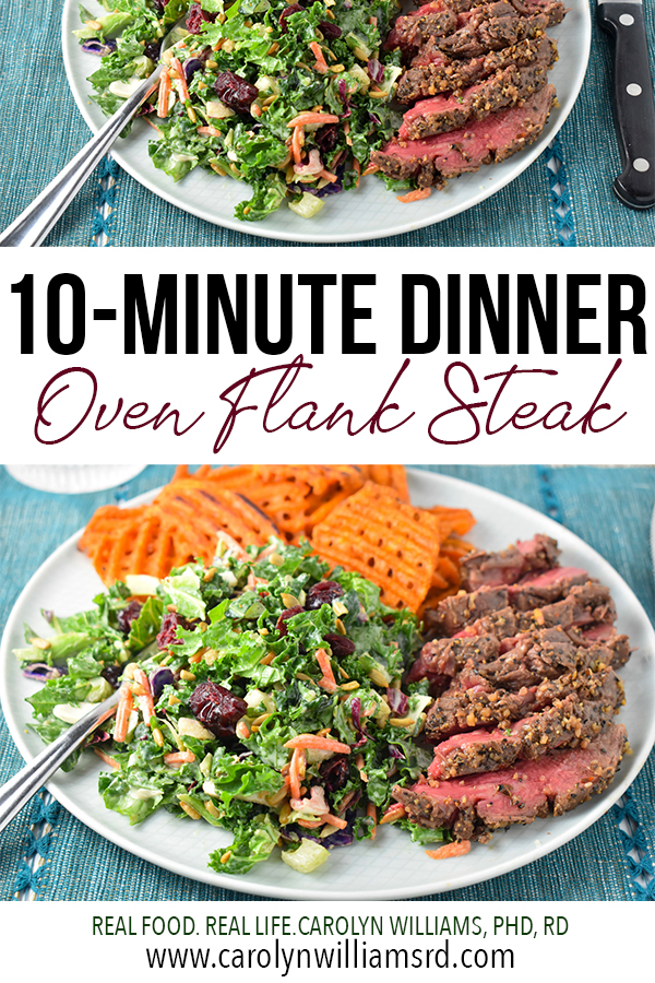10-Minute Oven Flank Steak Dinner // CarolynWilliamsRD.com