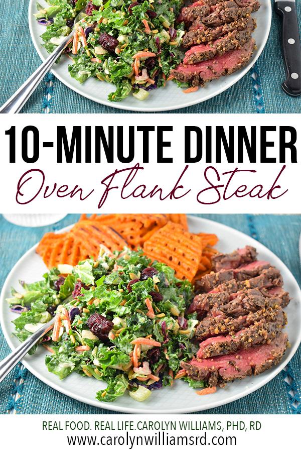 10-Minute Oven Flank Steak Dinner // CarolynWilliamsRD.com