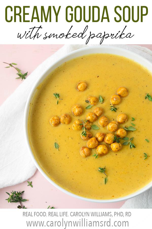 Creamy Gouda Soup with Smoked Paprika // CarolynWilliamsRD.com