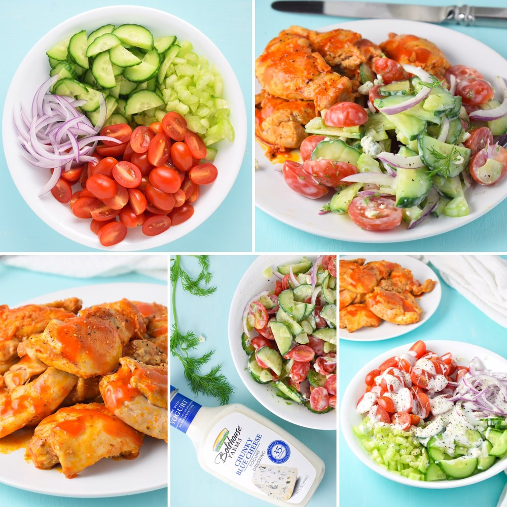 Buffalo Chicken and Blue Cheese Salad Collage // CarolynWilliamsRD.com