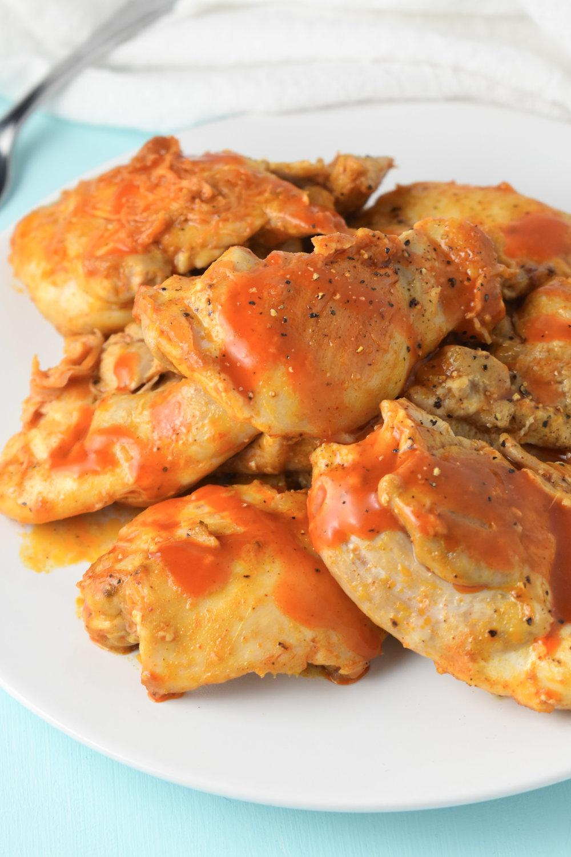 Buffalo Chicken Thighs // CarolynWilliamsRD.com