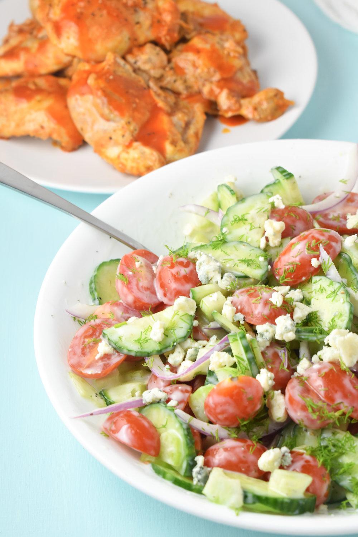 Buffalo Chicken and Blue Cheese Salad // CarolynWilliamsRD.com