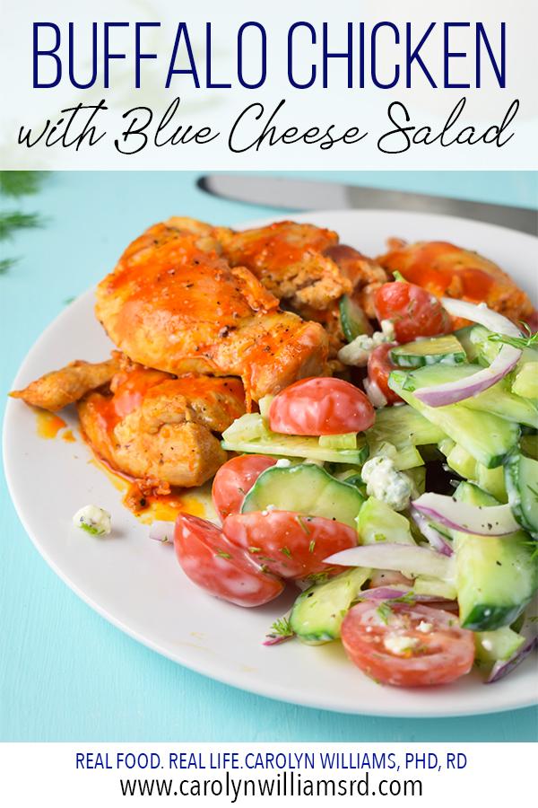 Buffalo Chicken with Blue Cheese Salad // CarolynWilliamsRD.com
