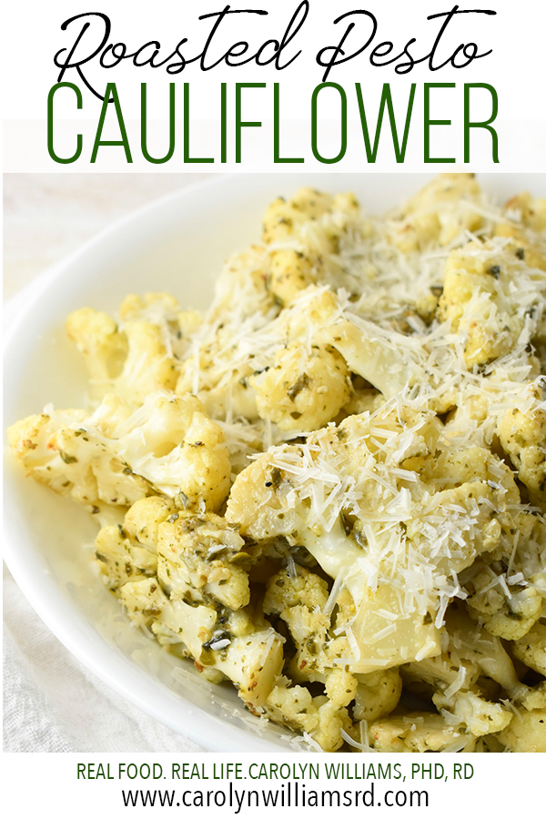 Roasted Pesto Cauliflower / CarolynWilliamsRD.com