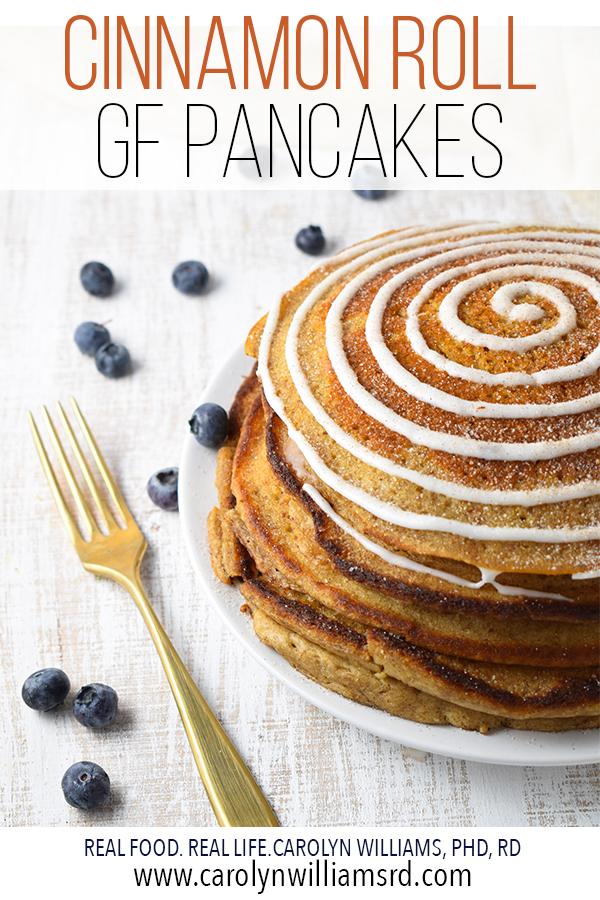 Cinnamon Roll Gluten-Free Pancakes // CarolynWilliamsRD.com