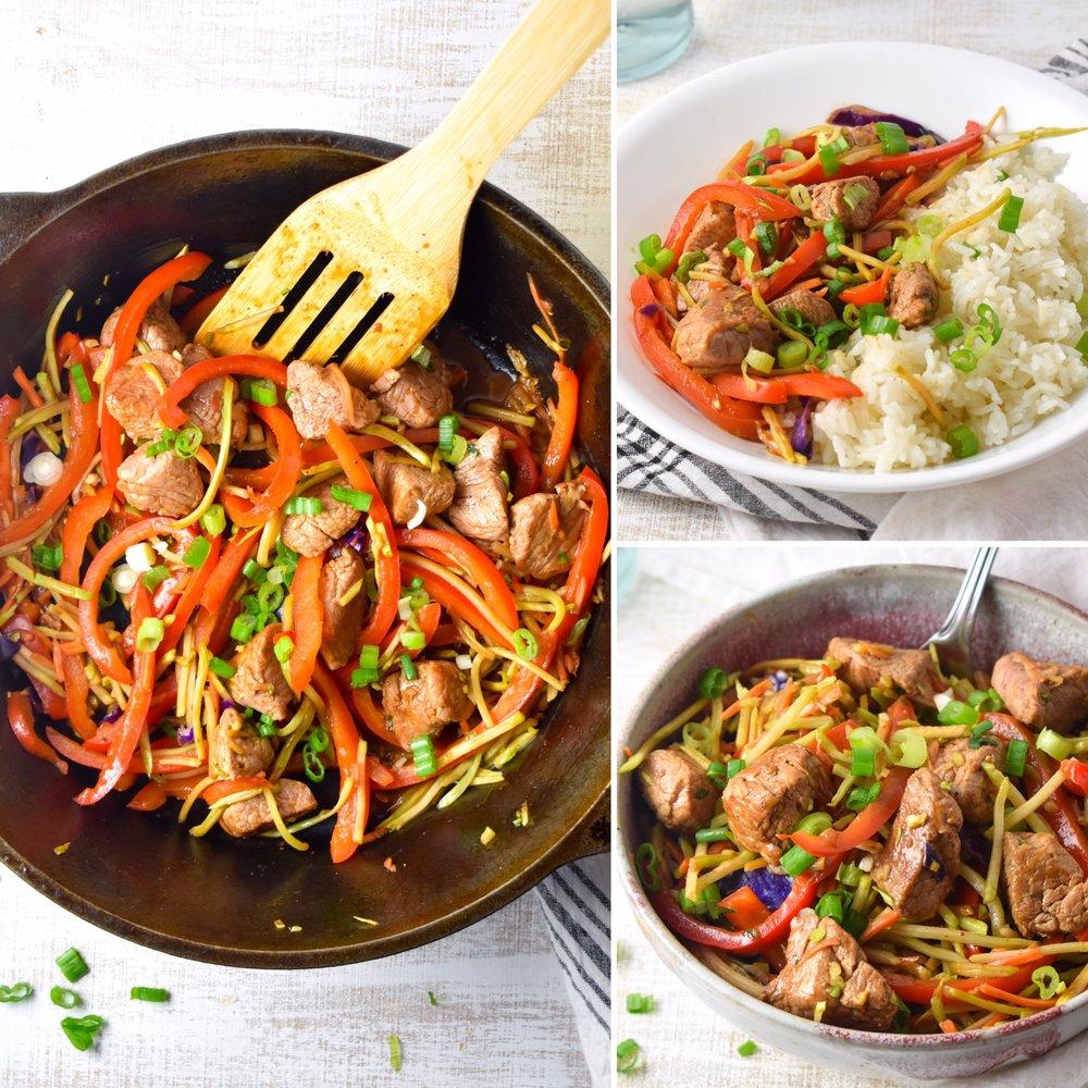 Quick Pork Vegetable Stir-Fry // CarolynWilliamsRD.com