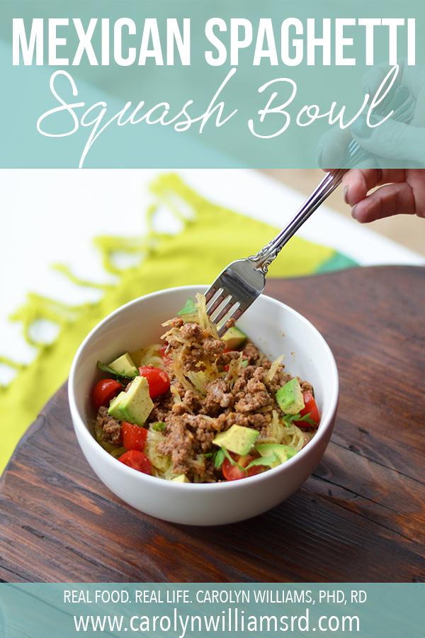 Mexican Spaghetti Squash Bowl / CarolynWilliamsRD.com