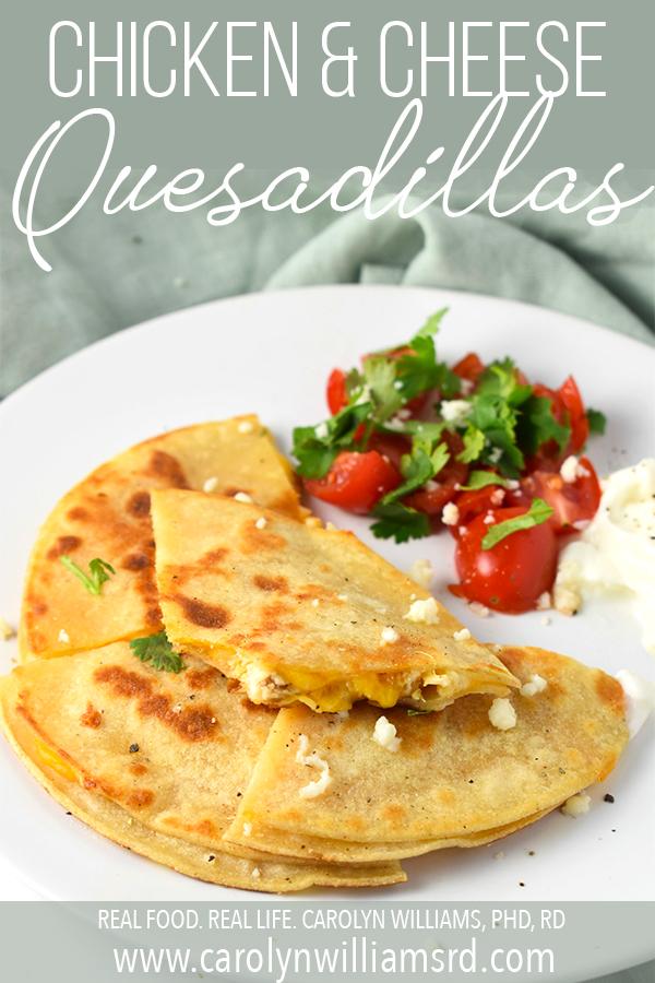 Easy Chicken & Cheese Quesadillas / CarolynWilliamsRD.com