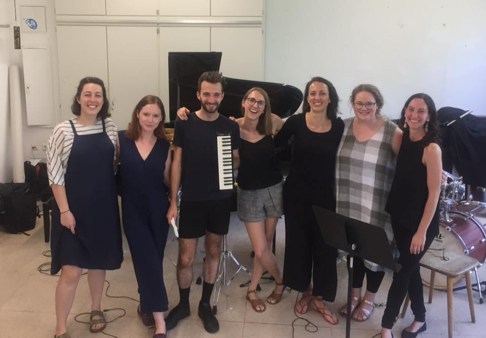 Rubiks Collective right after the world premiere of 'Want Not' at Darmstadt 2018. L-R: Sonia Wilson; myself; Jacob Abela; Tamara Kohler; Natasha Fearnside; Gemma Tomlinson; Kaylie Melville.