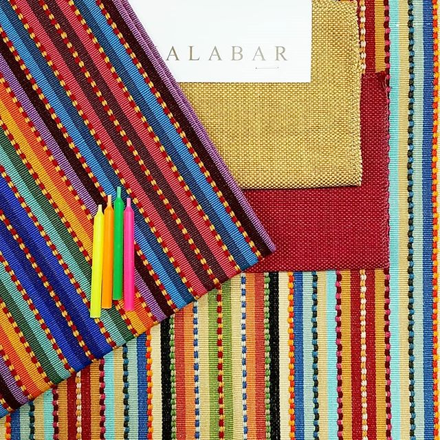 Feeling a little smug knowing that color is 'back in'. It never went out for us. TANPOCO is a party all in itself. All hand loomed cotton.  You can't replicate this texture on machines. Plains from out TABIA collection. . . . . #fabric #color #interiordesign #design #interiors #stripes #textiles