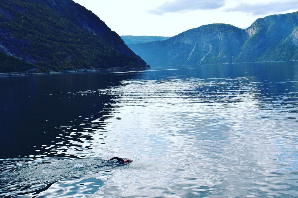 Testing out the waters in the Hardangerfjord in Eidjford before Isklar Norseman