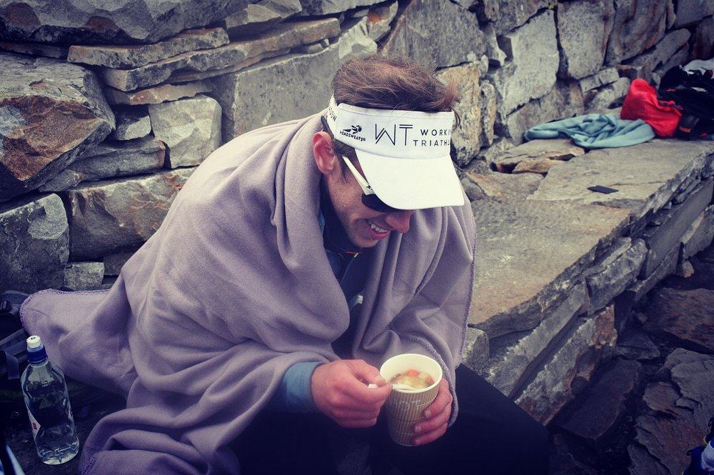 The famous soup on top of Gaustatoppen at the finish of Norseman