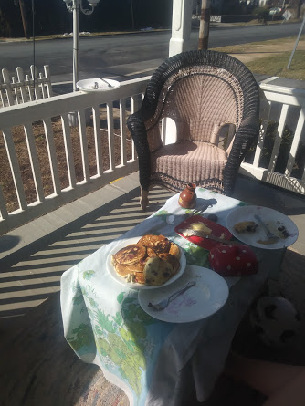 Blueberry pancakes and a happy front porch. -