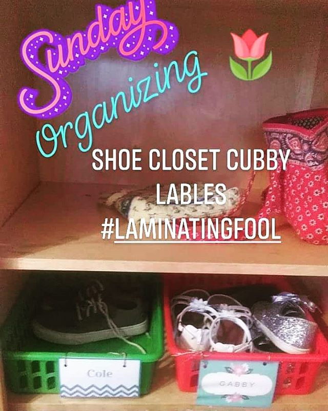 Because this closet has been driving me crazy and I needed to laminate! #organizing #shoe closet #homemaker #housewife #homeschooling #homeschoolmom