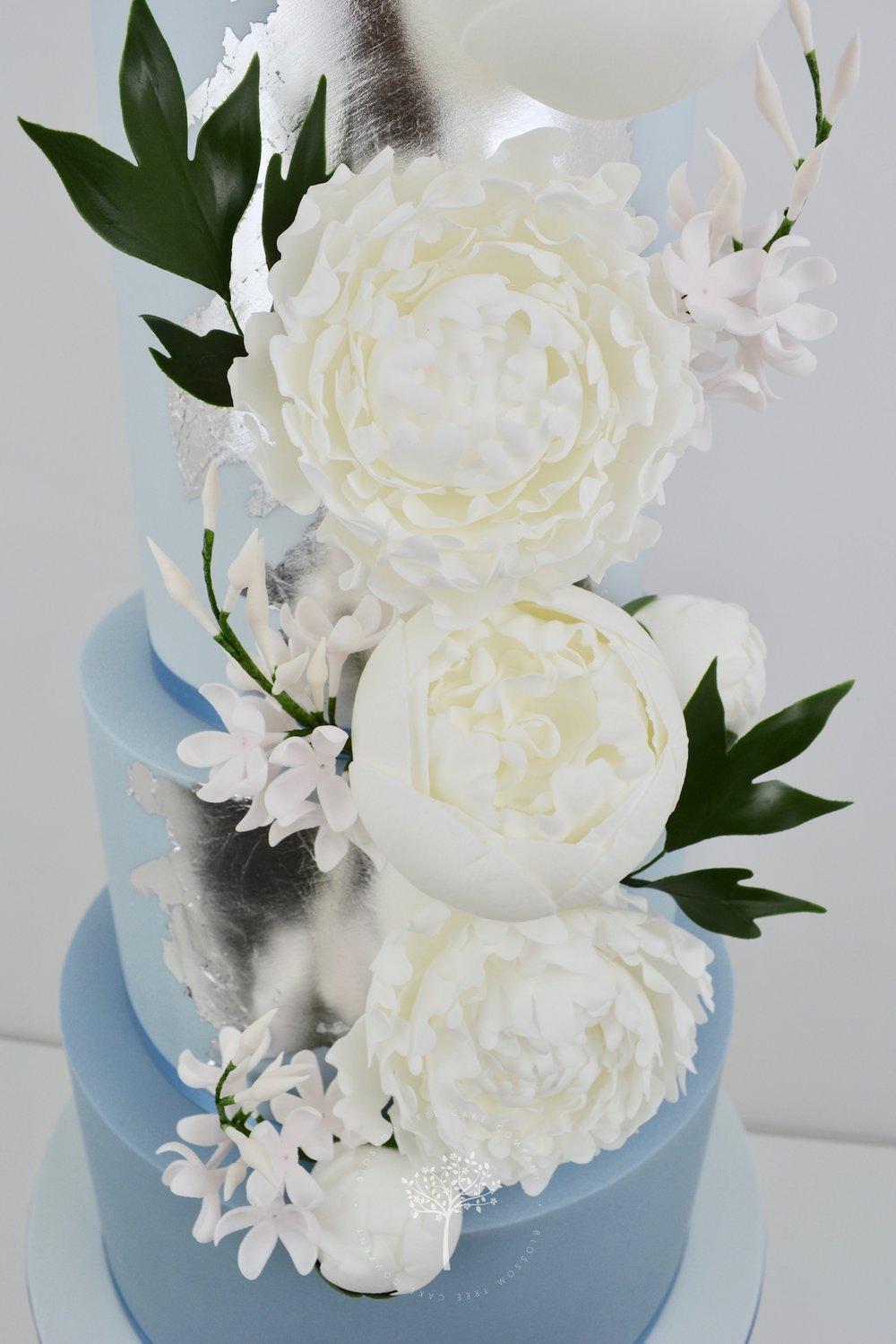 Dusky Blue and Peony wedding cake by Blossom Tree Cake Company Harrogate North Yorkshire - sugar peonies.jpg