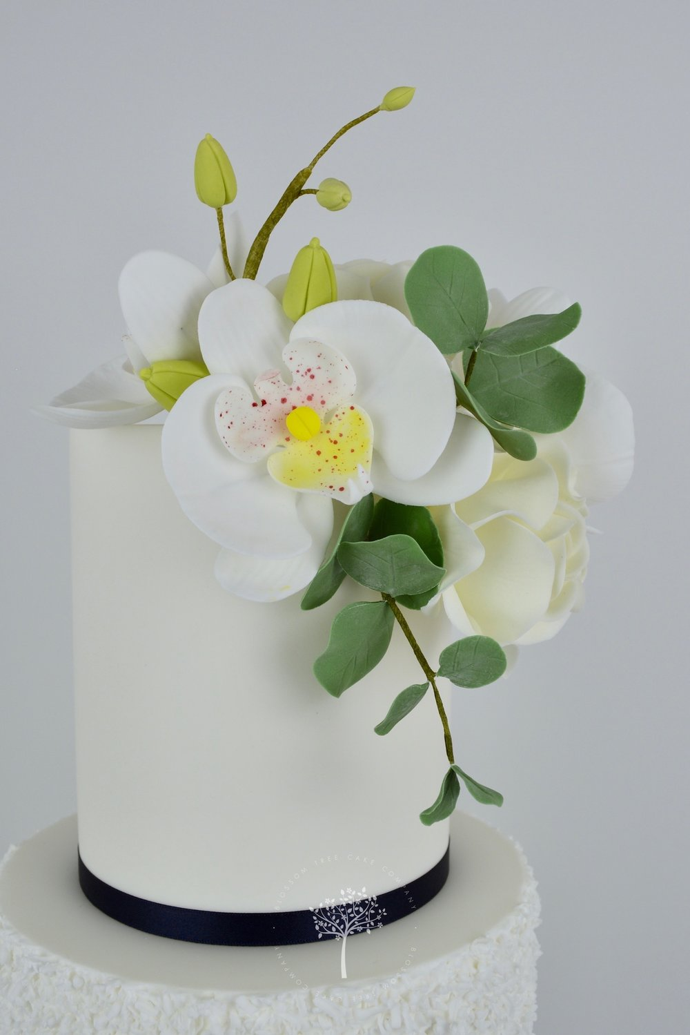 Silver Orchids wedding cake by Blossom Tree Cake Company Harrogate North Yorkshire - sugar orchids.jpg