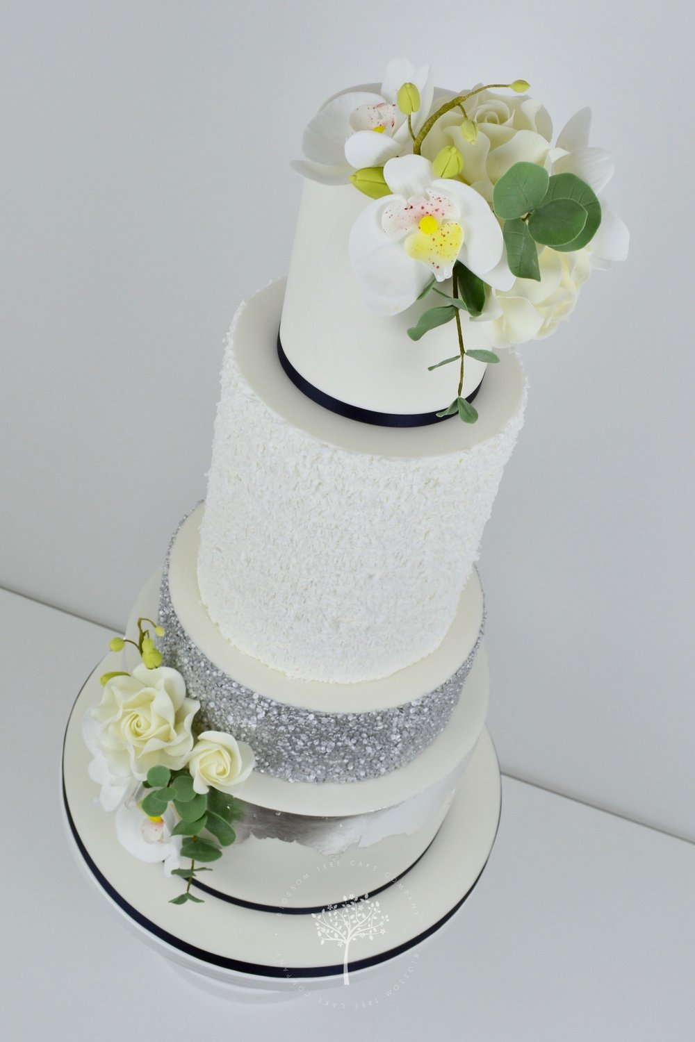 Silver Orchids wedding cake by Blossom Tree Cake Company Harrogate North Yorkshire - angle.jpg