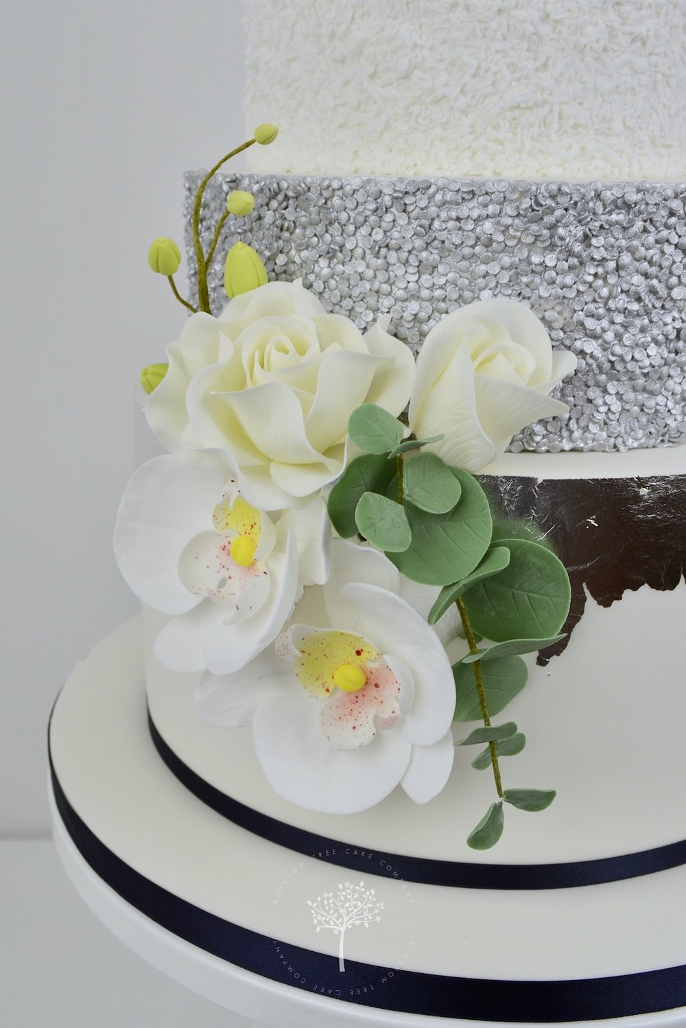Silver Orchids wedding cake by Blossom Tree Cake Company Harrogate North Yorkshire - sugar flowers.jpg