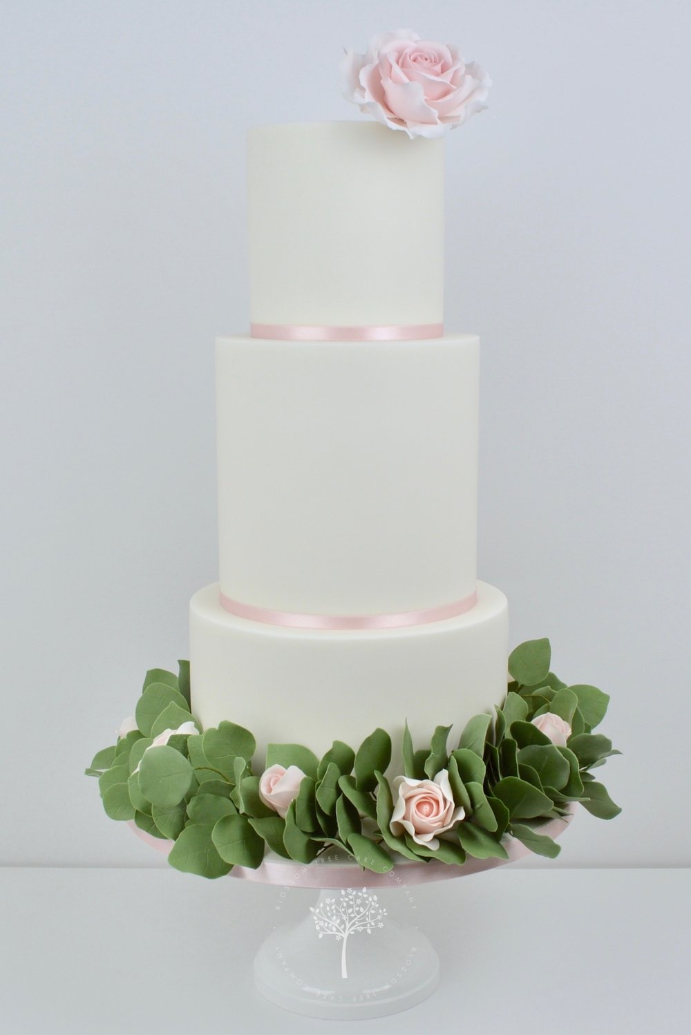 Roses and Silver Dollar wedding cake by Blossom Tree Cake Company.jpg