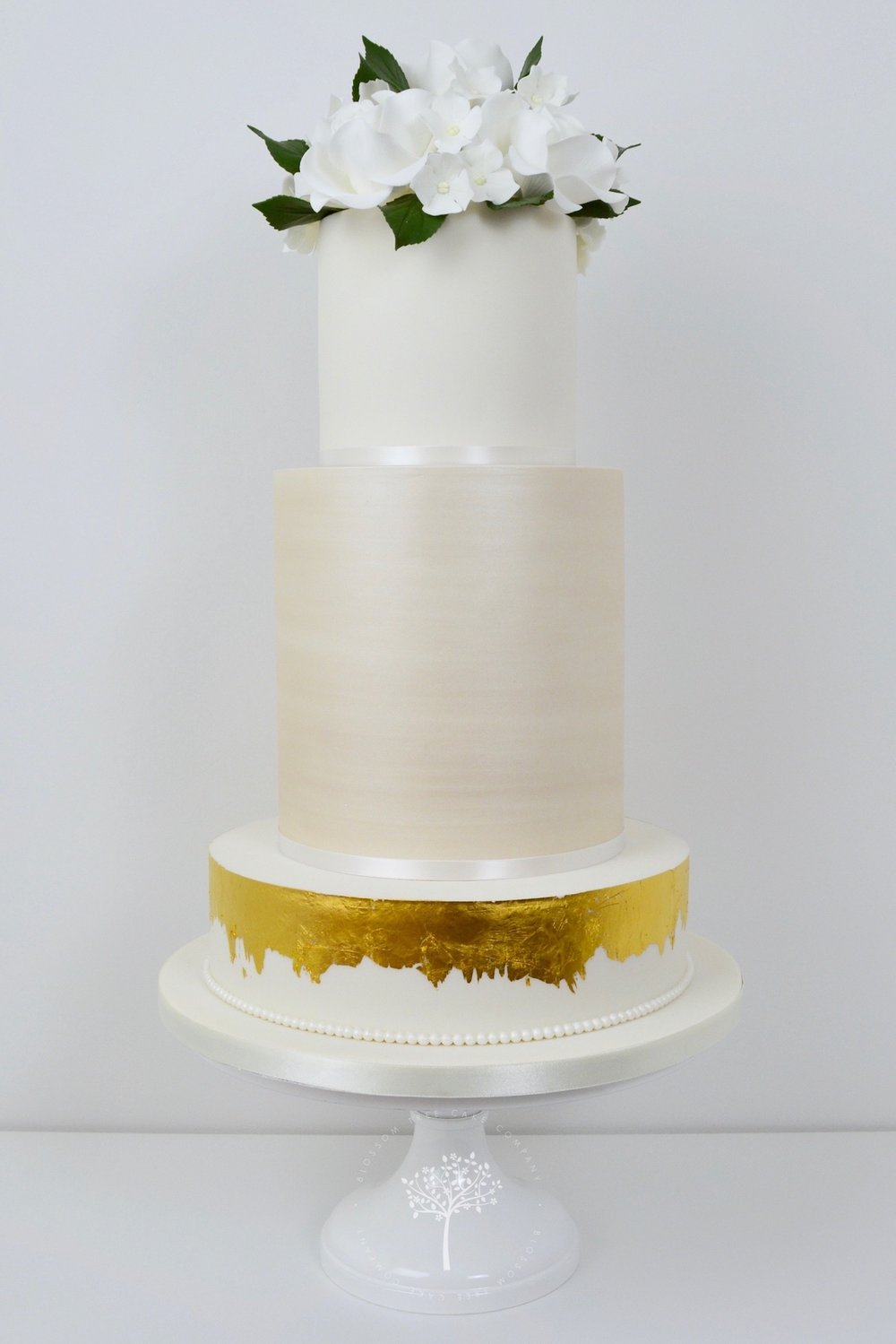Champagne and White Roses wedding cake by Blossom Tree Cake Company Harrogate North Yorkshire.jpg