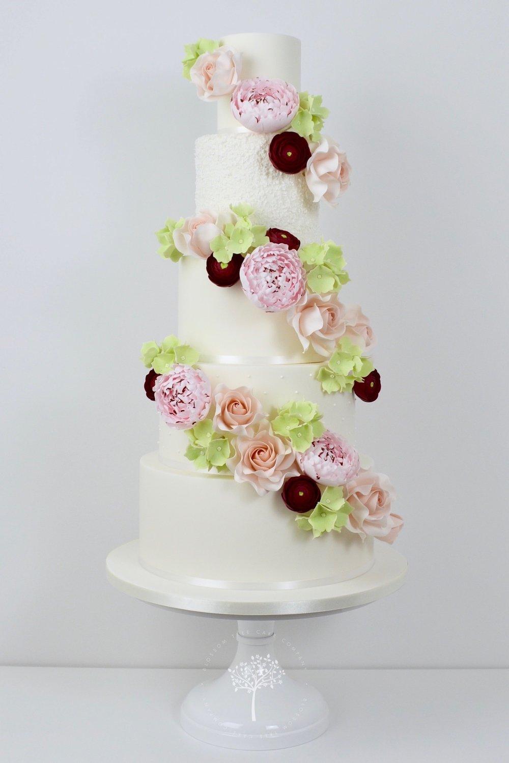 Floral Cascade wedding cake by Blossom Tree Cake Company.jpg
