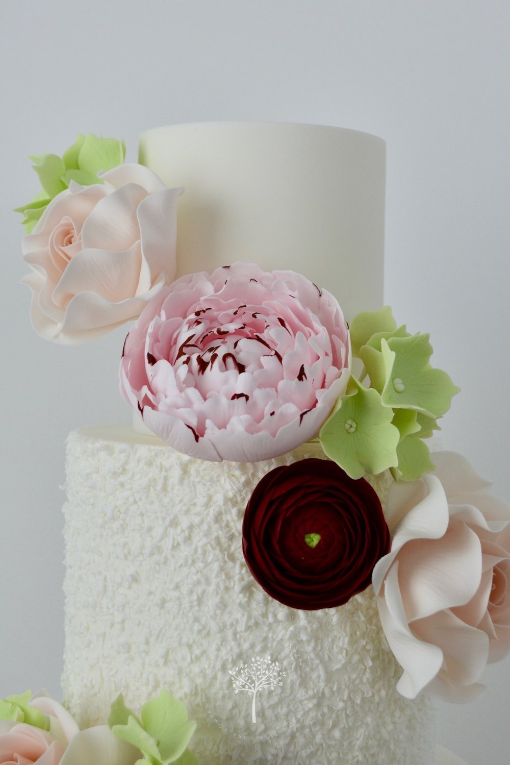 White Roses and Ranunculus wedding cake by Blossom Tree Cake Company Harrogate North Yorkshire - sugar roses.jpg