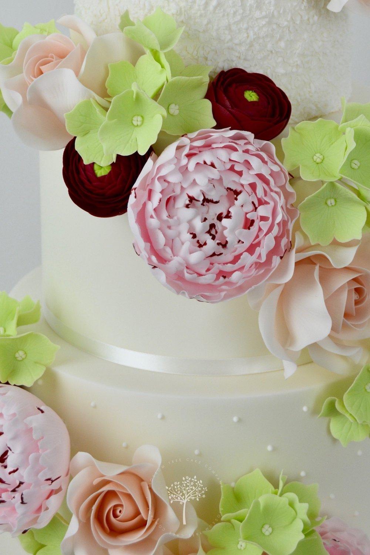 Floral Cascade wedding cake by Blossom Tree Cake Company - sugar flowers.jpg