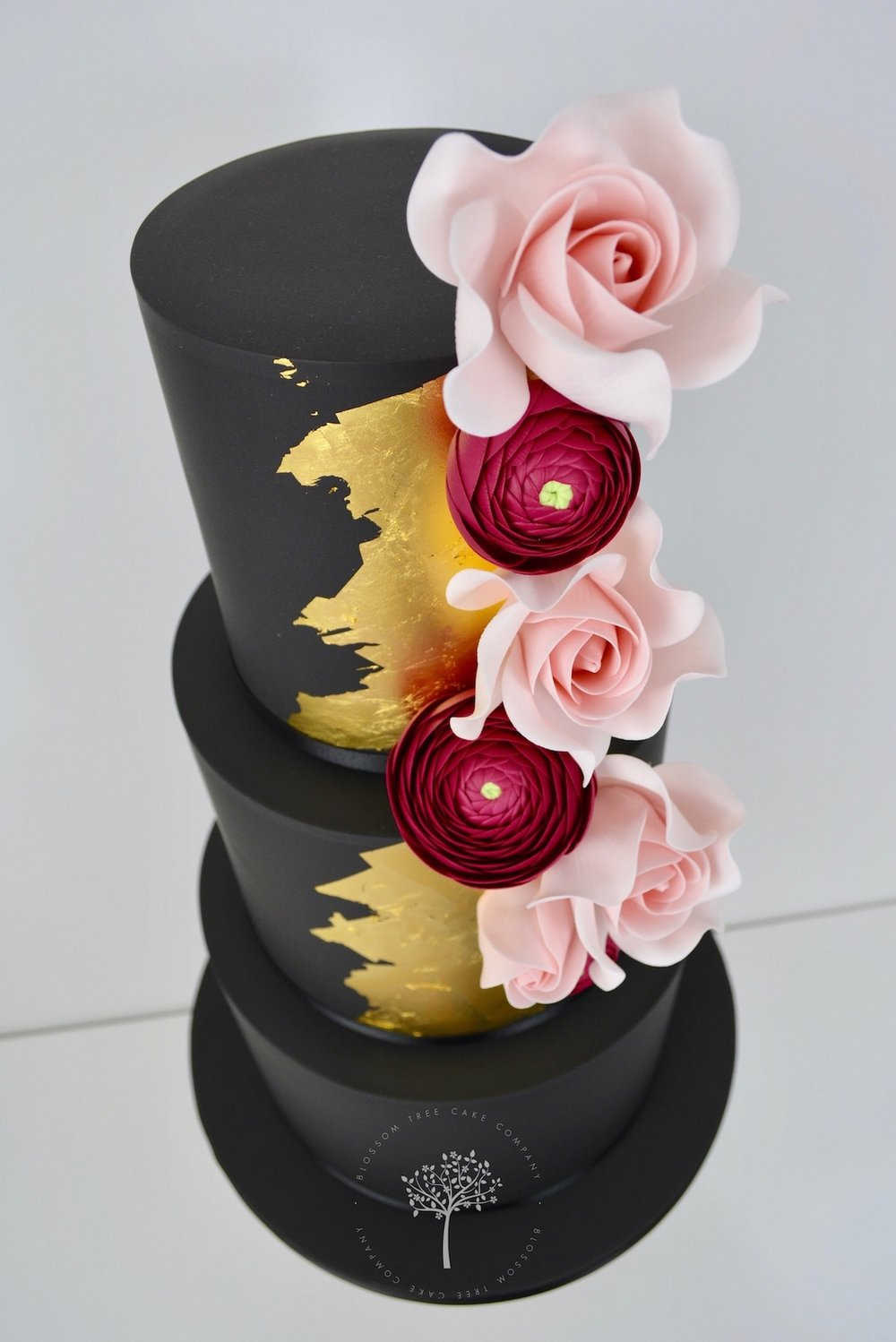 Black and Gold wedding cake by Blossom Tree Cake Company Harrogate North Yorkshire - angle.jpg